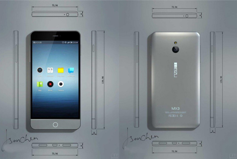 Meizu MX3 dimensioni e design