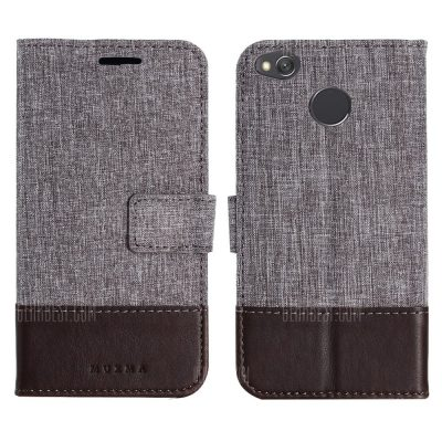 smartylife-Durable Canvas Design Flip PU Leather Wallet Case for Xiaomi Redmi 4X