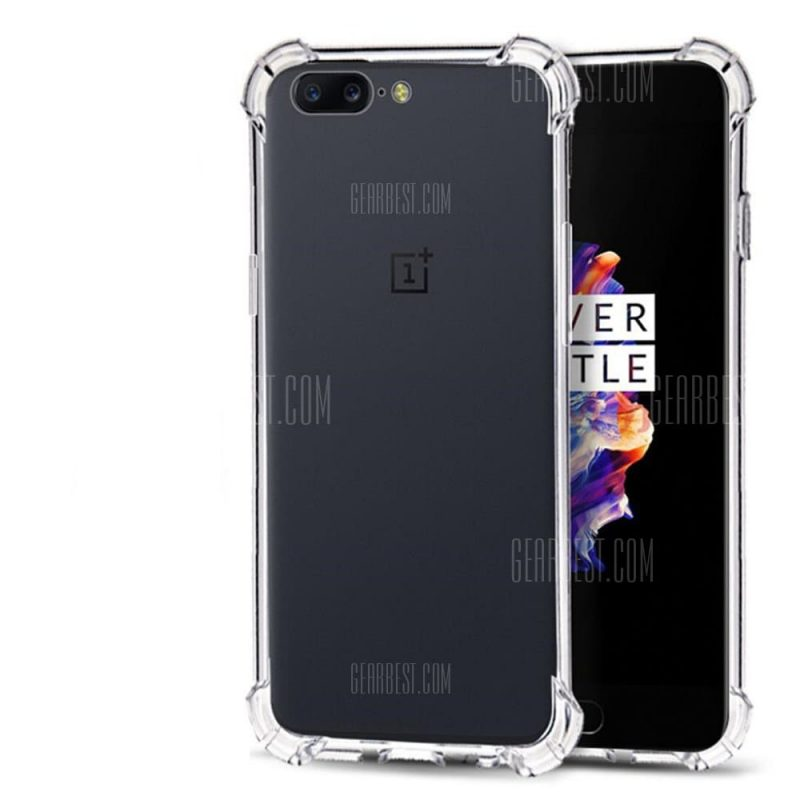 smartylife-Extreme Heavy Duty Protective Soft Rubber TPU Bumper Case Anti-Scratch Shockproof Rugged Protection Clear Transparent Back Cover for Oneplus 5