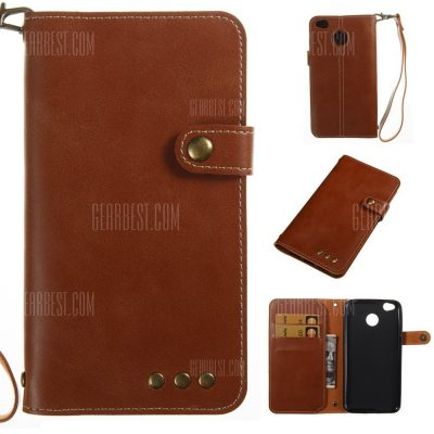 smartylife-Wkae Crazy Horse Texture Retro PU Leather Case with Wallet Card Slots for Xiaomi 4X