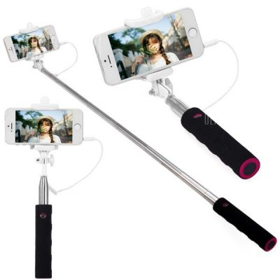 smartylife-Practical 3.5mm Jack Cable Connect RC Self Timer Stretch Monopod Camera Shutter with Phone Holder