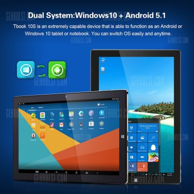 smartylife-Teclast Tbook 10S 10.1Inch Windows 10+Android 5.1 Intel Cherry Trail X5-Z8350 4+64GB 2 in 1 Ultrabook Tablet PC