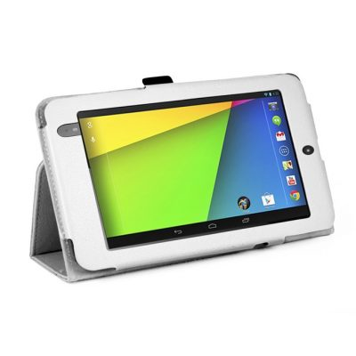 smartylife-Folio PU Leather Case Cover With Kickstand For Google Asus Nexus 7 II Tablet - White