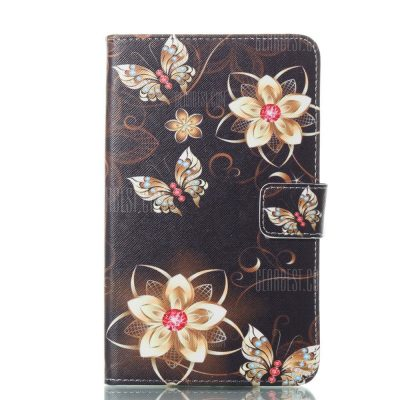 smartylife-Golden Flower Butterfly Ultrathin Luxury Genuine Leather Case for Samsung Galaxy Tab A A6 7.0 Inch T280 T285 Cover Case