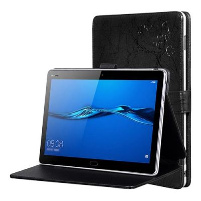 smartylife-Huawei M3 Tablet 10.1 Inch Protective Leather Case With Stand & Arm Band Functions - Black