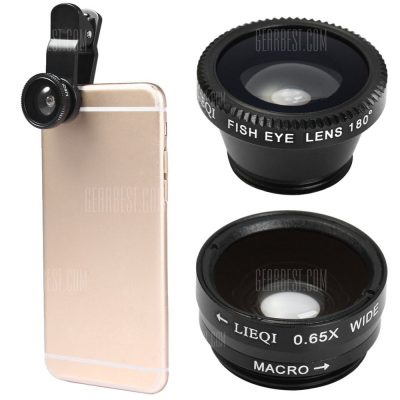 smartylife-LIEQI LQ  -  011 3 - in - 1 Fish Eye Macro 0.65X Wide Angle External Camera Lens