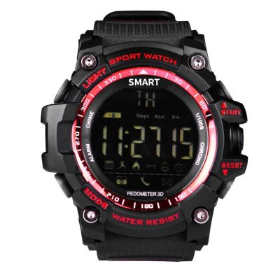 smartylife-Makibes EX16 Smart Watch 5ATM Water Resistant Bluetooth 4.0 Call SMS Reminder Compatible with iOS Android - Red