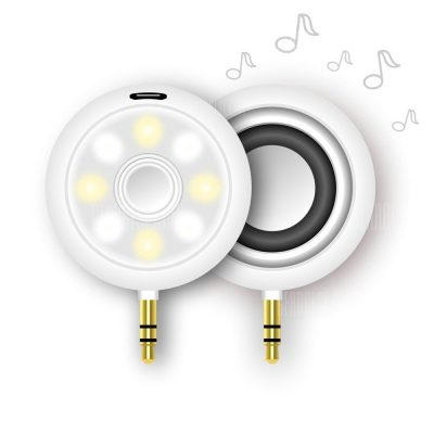 smartylife-Mini 3.5mm Audio Speaker 8 LED Selfie Fill-in Light 2 in 1