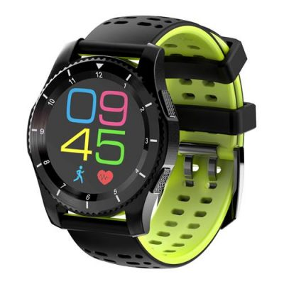 smartylife-No.1 GS8 Smartwatch Phone MTK2502 Bluetooth 4.0 SIM Card Call Message Reminder Heart Rate Monitor Compatible with Android iOS - Black + Green