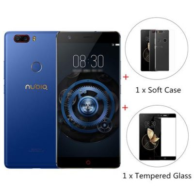 smartylife-[Official Global Version]ZTE Nubia Z17 Lite 5.5 Inch Smartphone 6GB 64GB 13.0MP Dual Rear Camera Snapdragon 653 Octa Core Android 7.1 (Blue) + Soft Case + Tempered Glass