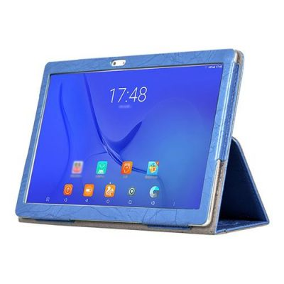 smartylife-Protective PU Leather Case with Kickstand for Teclast T10 Floral Series 10.1 Inch with adjustable support armband - Blue