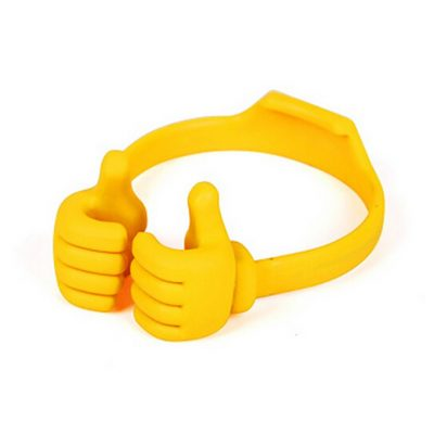 smartylife-Silicone Thumb OK Design Stand Holder For Mobile Phone Android Phone Tablets iPad mini - Yellow