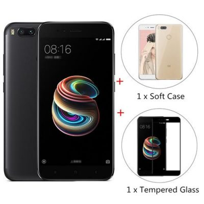 smartylife-Xiaomi Mi 5X 5.5 inch 4G LTE Smartphone 4GB 64GB Snapdragon 625 Octa Core Dual 12.0MP Cam Android 7.1 (Black) + Soft Case + Tempered Glass
