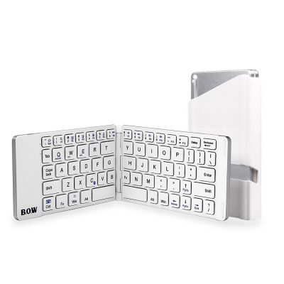 smartylife-B.O.W Aluminum Foldable Bluetooth Wireless Keyboard for iOS Android Windows Device - White