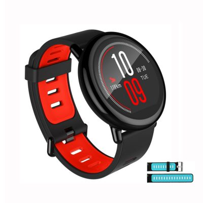 smartylife-Bundle English Version Xiaomi HUAMI AMAZFIT Pace Smart Sports Watch Support Strava Black + Replacement Silicone Strap Black Blue