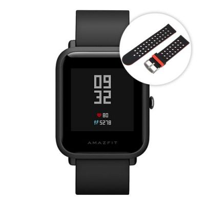 smartylife-(English Version)Huami Amazfit Bip Lite Version Bluetooth 4.0 IP68 Sports Smart Watch  GPS Gloness Heart Rate Monitor 45 Days Standby(Black)+Smart Watch Replacement Strip(Black+ Red)
