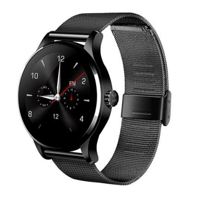 smartylife-Makibes K88H Smart Bluetooth Watch Heart Rate Monitor Smartwatch MTK2502 Siri Function Gesture Control For iOS Andriod (Stainless Steel Band) - Black