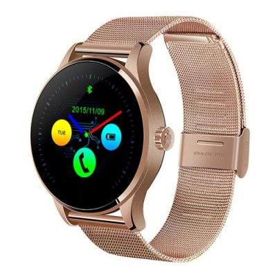 smartylife-Makibes K88H Smart Bluetooth Watch Heart Rate Monitor Smartwatch MTK2502 Siri Function Gesture Control For iOS Andriod (Stainless Steel Band) - Champagne