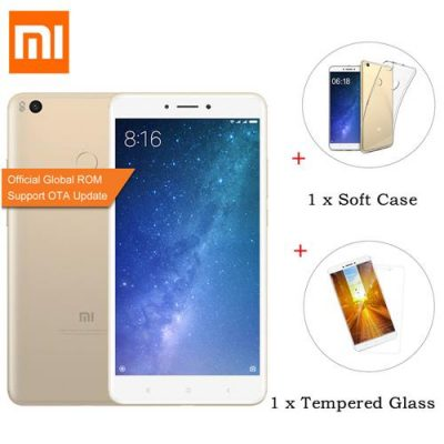 smartylife-[Official Global ROM]Xiaomi Mi Max 2 6.44 Inch FHD 4GB 64GB Snapdragon 625 Octa Core 12.0MP Cam Android 7.1 Smartphone (Gold) + Soft Case + Tempered Glass