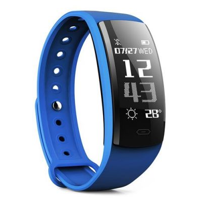 smartylife-QS90 Smartband Nordic 52832 Blood Pressure Blood  Oxygen Monitor  IP67 Water Resistant  0.96' HD OLED Bluetooth 4.0 - Blue