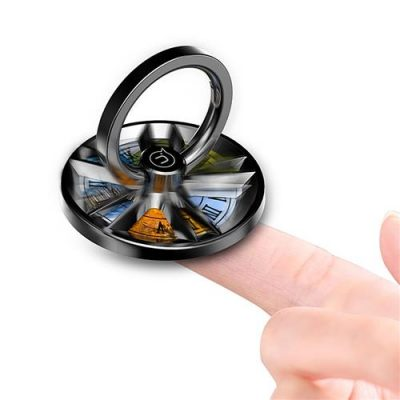 smartylife-USAMS US-ZJ021 Hand Spinner Ring Holder For Android Phones iPhone iPad Tablet PC - Black