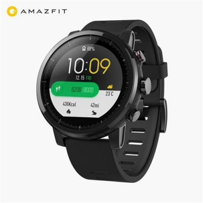 smartylife-Original Xiaomi HUAMI AMAZFIT Stratos Smart Sports Watch 2 Version Support Strava 1.34 Inch 2.5D Screen 5ATM Water Resistant GPS Firstbeat Swimming Mode WOS 2.0 With Silicone Strap - Black